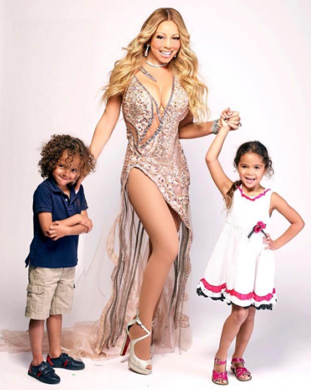 Mariah Carey com os filhos, Moroccan e Monroe. Foto: Instagram.